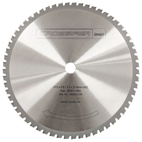 TCT Saw blade for metalworking 315mm 315x2,2x25,4mm 60T 4800rpm
