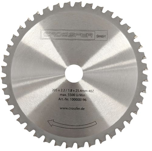 TCT Saw blade for metalworking 205mm 205x2x25,4mm 40T 7300rpm